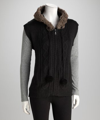 Black Fur Collar Sweater Vest