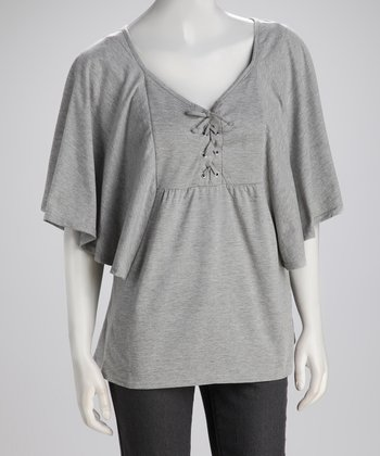 Heather Gray Lace-Up Top