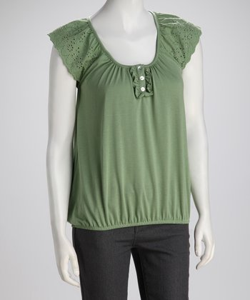 Sage Lace Peasant Top