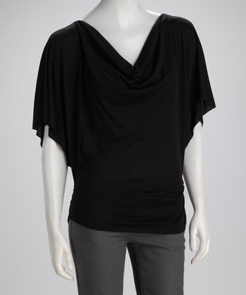 Black Cape-Sleeve Top