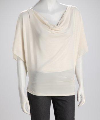 Linen Cape-Sleeve Top