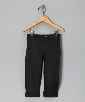 Black Cuffed Capri Pants - Girls