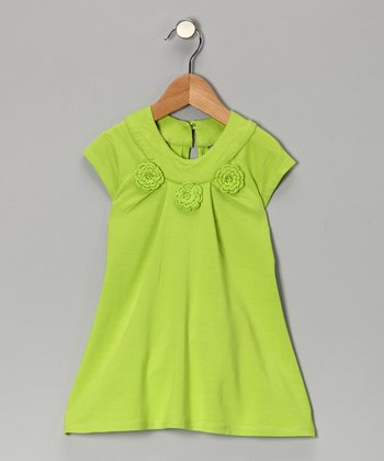 Lime Green Flower Swing Top - Girls
