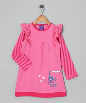 Pink Stripe Princess Dress - Girls