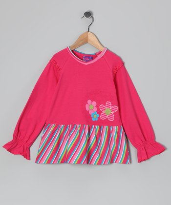 Fuchsia Stripe Flower Tunic - Girls