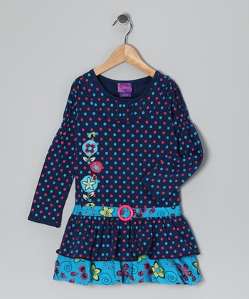 Pink & Navy Polka Dot Dress - Girls