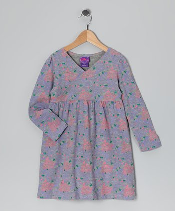 Heather Gray Floral Surplice Dress - Girls