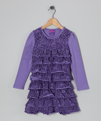 Purple Zebra Ruffle Dress - Infant