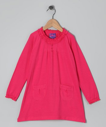 Fuchsia Pin Tuck Dress - Toddler & Girls