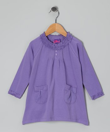 Purple Pin Tuck Dress - Toddler