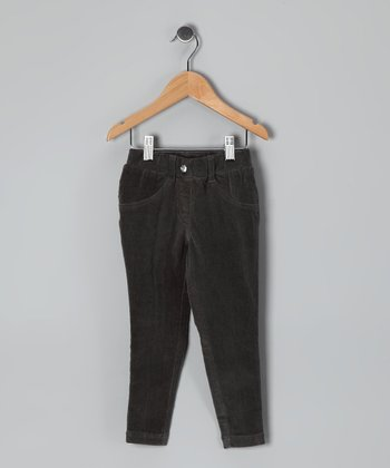 Dark Gray Corduroy Skinny Pants - Girls