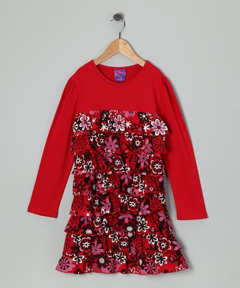 Red Snow Flower Ruffle Dress - Infant & Toddler