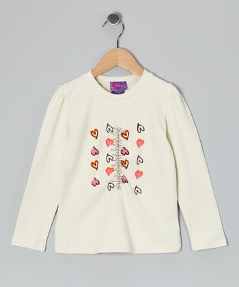 Cream Heart Tee - Toddler & Girls