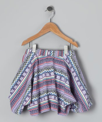 Purple & Coral Zigzag Handkerchief Skirt - Toddler & Girls
