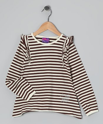 Brown Stripe Sidetail Tunic - Girls