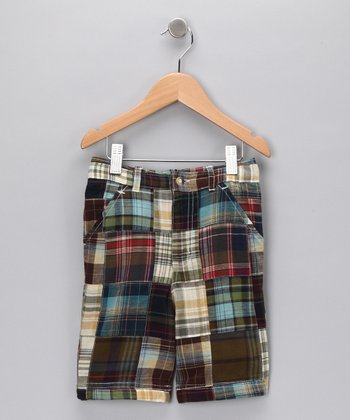 Brown Plaid Patchwork Shorts - Toddler & Boys