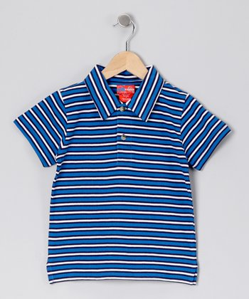 Blue Stripe Polo - Boys