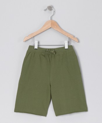 Olive Drawstring Shorts - Infant
