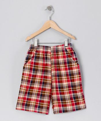 Red & Yellow Plaid Madras Shorts - Toddler & Boys