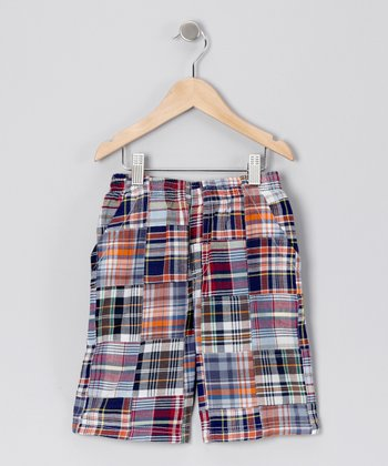 Red & Black Plaid Patch Shorts - Toddler & Boys