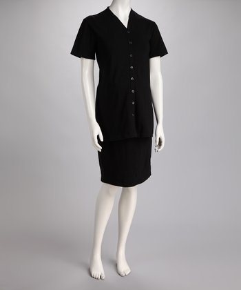 Black Maternity Short-Sleeve Button-Up & Pencil Skirt
