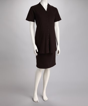 Brown Maternity Short-Sleeve Button-Up & Pencil Skirt