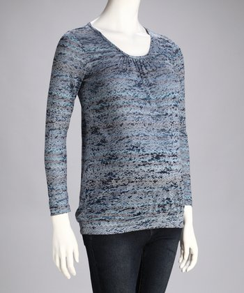 Blue Bahai Banded Maternity Top