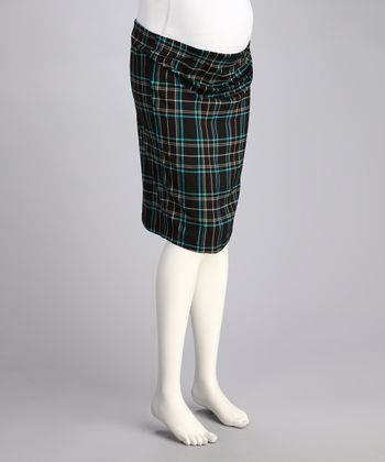 CT Chocolate & Turquoise Plaid Under-Belly Maternity Pencil Skirt