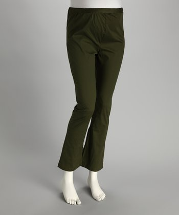 Moss Green Mid-Belly Maternity Bootcut Pants