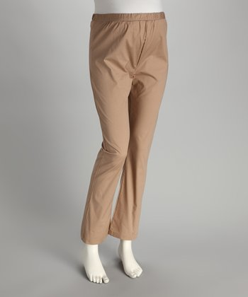 Tan Mid-Belly Maternity Bootcut Pants