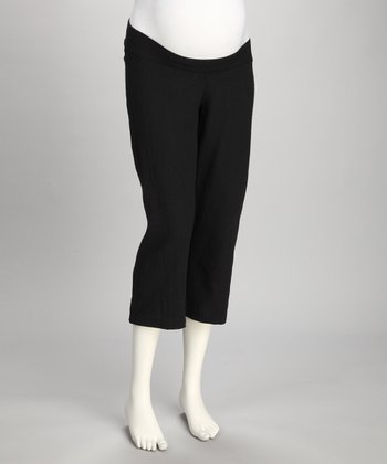 Black Under-Belly Maternity Capri Pants