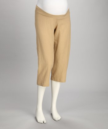 Khaki Under-Belly Maternity Capri Pants