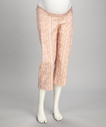 Pink Tyrolean Spring Under-Belly Maternity Capri Pants
