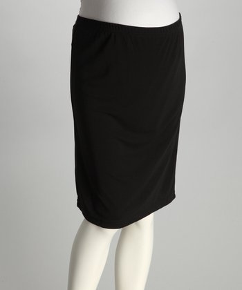 Black Mid-Belly Maternity Pencil Skirt