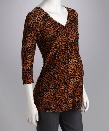 Brown & Black Safari Gathered Maternity & Nursing Top