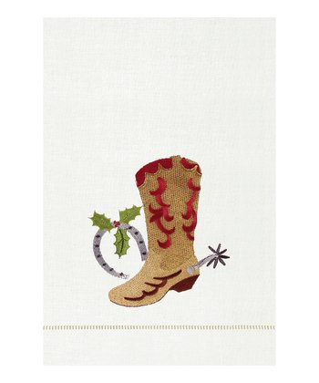 Christmas Boot Hemstitch Guest Towel - Set of Two
