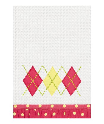 Dark Pink Argyle Kitchen Towel - Set of Two