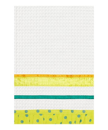 Green Polka Dot Ribbon Kitchen Towel - Set of Two