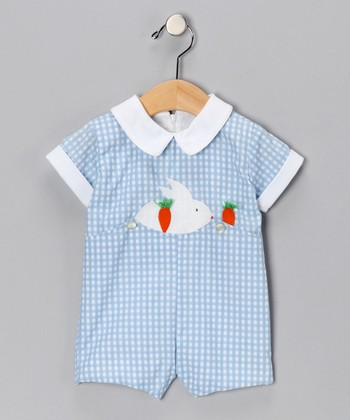 Blue Bunny Gingham Romper - Infant & Toddler