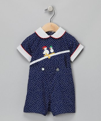 Royal Blue Polka Dot Snowman Romper - Infant