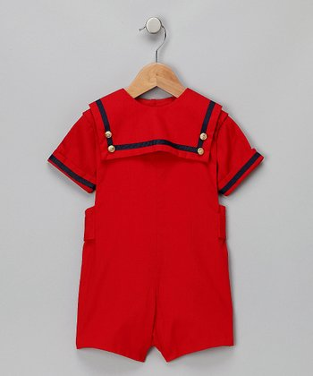 Red & Navy Braided Romper - Toddler