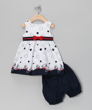 White Polka Dot Sailboat Dress & Navy Bloomers - Infant