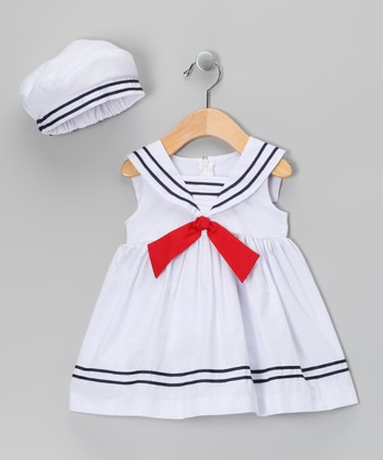 Jayne Copeland White Sailor Dress & Beret - Infant, Toddler & Girls