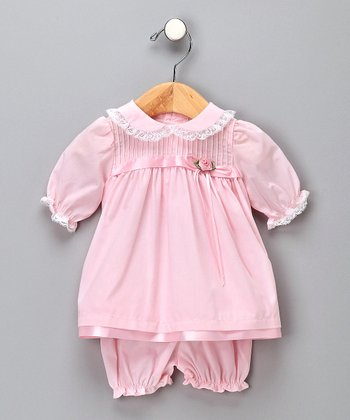 Pink Pintuck Peter Pan Dress & Bloomers - Infant