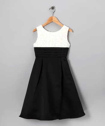 Ivory & Black Rosette Dress - Girls