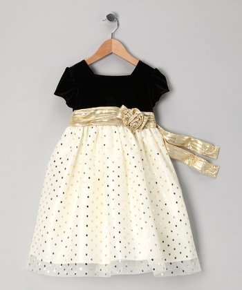 Ivory & Black Polka Dot Cap-Sleeve Dress - Toddler & Girls