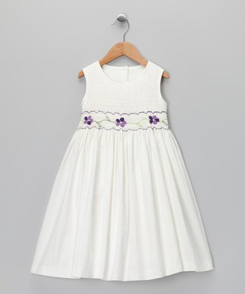 Ivory & Purple Smocked Dress - Girls