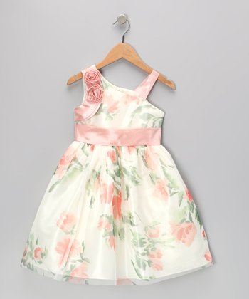 Pink Flower Asymmetrical Dress - Toddler & Girls