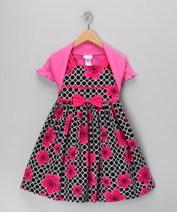 Pink & Black Rose Dress & Shrug - Toddler & Girls