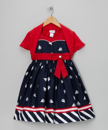 Navy Sailboat Dress & Red Shrug - Girls